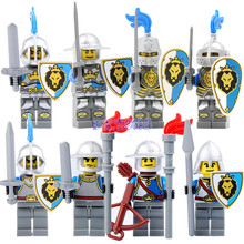 DR TONG Medieval Castle Knight Figure Blue Lion with Weapons Single Sale Building Blocks Figure Bricks