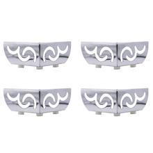 4 stuks Zware dragende Meubels Benen Opengewerkte Patroon Metalen Kast voeten Verchroomd Driehoek Sofa TV Kast benen