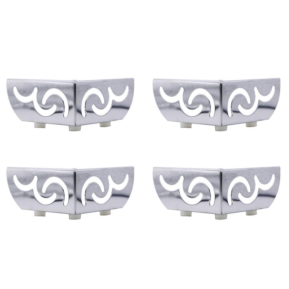 4pcs Heavy Load Bearing Furniture Legs Openwork Pattern Metal Cabinet Feet Chrome-Plated Triangle Sofa TV Cabinet Legs