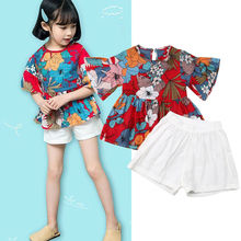 Toddler Kids Girl Vogue Red Floral Flutter Short Sleeve Top White Shorts Children Girl's 2Pcs Outfits Set New недорого
