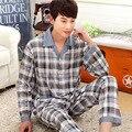 Бренд случайные хлопка наборы пижамы мужчина с длинным рукавом turn down весна осень двух частей домашняя одежда пижамы одежда человек плед пижамы