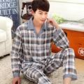 Marca casual algodón pijama hombre turn down de manga larga del otoño del resorte de dos piezas pijamas homewear ropa de dormir ropa de hombre a cuadros