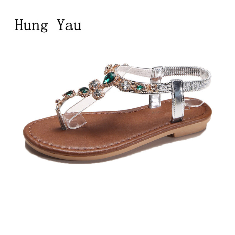 Women Sandals Flip Flops 2018 New Summer Fashion Rhinestone Wedges Shoes Woman Slides Crystal Bohemia Lady Casual Shoes Female bohemia plus size 34 41 new fashion wedges sandals slip on elastic band casual platform shoes woman summer lady shoes shallow