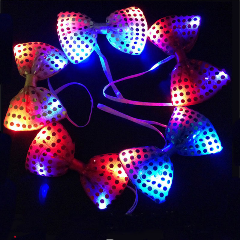 200pcs/lot Led Luminous Neck Tie Mixcolor Flashing Male/Female Fashion Bow Tie Party Wedding Dancing Stage Glowing Tie ZA4580