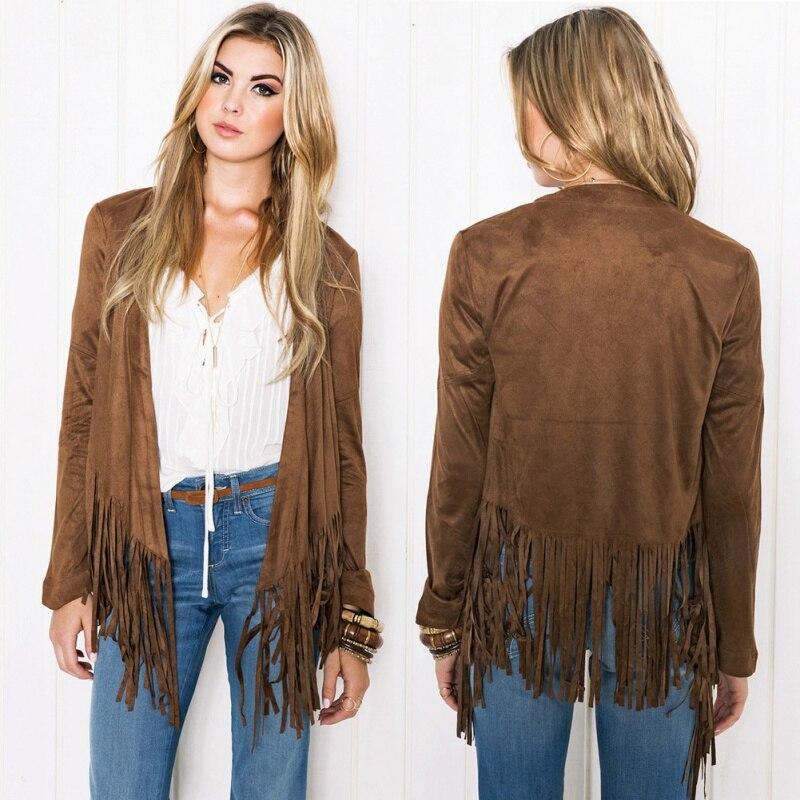 2018 Faux Suede Slim Fit Cardigan Autumn Women\'s Casual Long Sleeve Tassel Cardigan Sweater Jacket Coats Outwear Harajuku