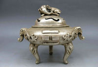 Изысканный китайский белый Медь Буддизм фэн шуй животных Слон Ладан курильница