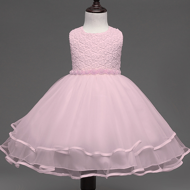 Flower Girl Dress Girls Pearls Birthday Wedding Party Princess Dresses Kids White Tutu Mesh Costume Children Clothes retail kids girls dresses summer wedding party princess flower girl dresses birthday tutu dress children clothing e9150