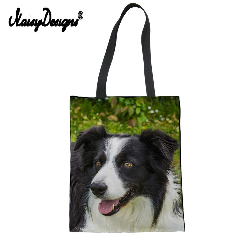 3D Dog Border Collie Lady's Shopping Bag Shoulder Bags Environmental Tote Package Crossbody Bags Purses Handbag For Women