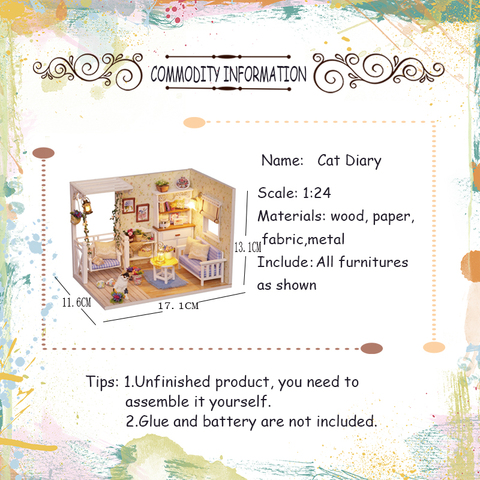 Doll House Furniture Diy Miniature 3D Wooden Miniaturas Dollhouse Toys for Children Birthday Gifts Casa Kitten Diary H013 Lahore