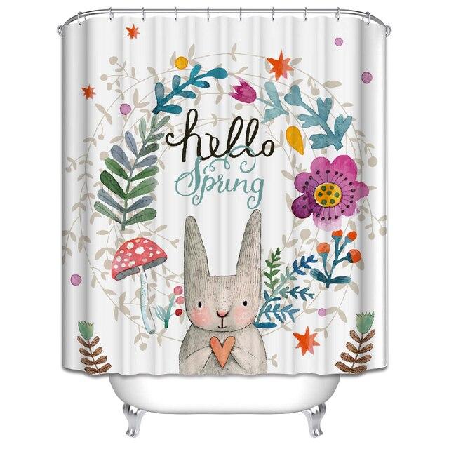 2017 High Quality White Rabbit Shower Curtain 180 * 200CM Shower ...