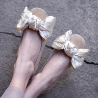 Artmu Fashion Bow Butterfly knot Single Shoes Shallow Mouth Genuine Leather Flats Women Shoes Fairy Princess Cute Girl Shoes
