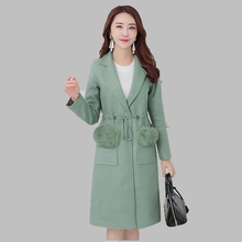 2016 New Women Winter Coat Fashion Slim Wool Woolen Coat Medium long Woolen Coat Large size Thick Warm Women Winter Jacket AB198
