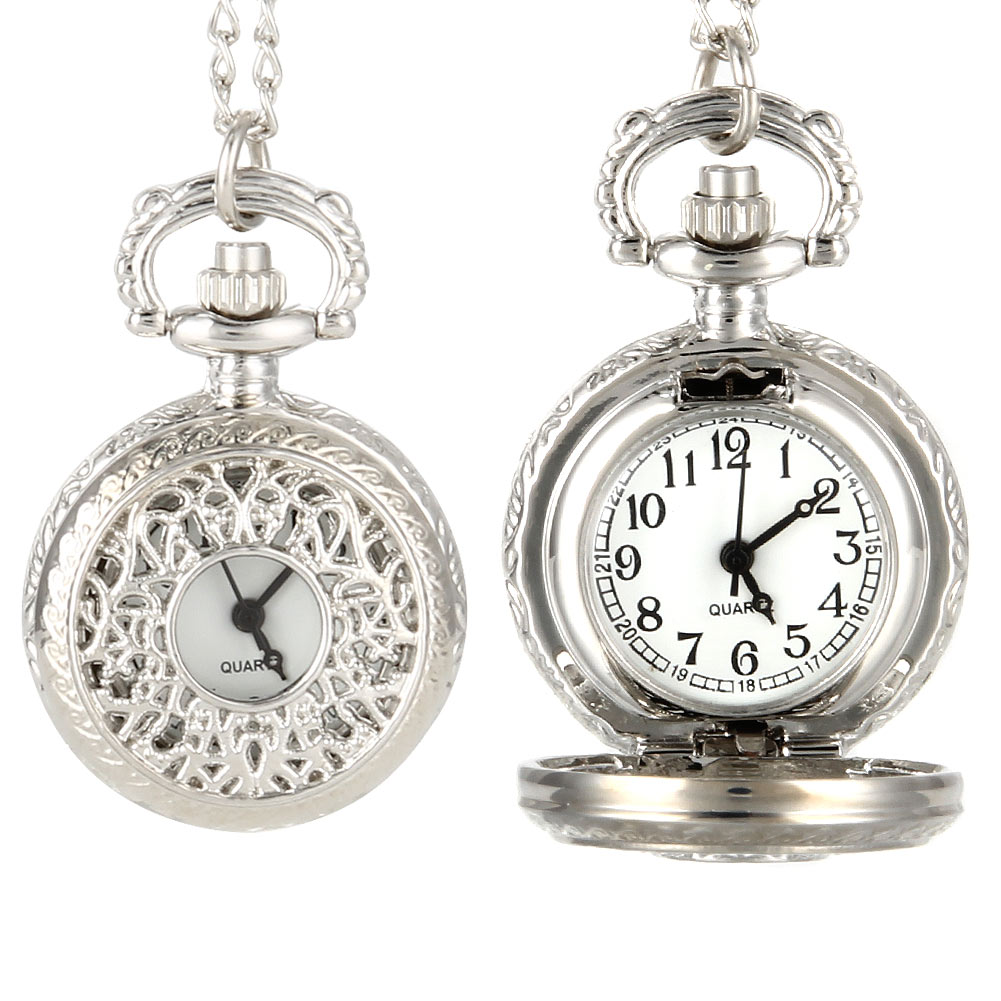 Vintage Women Quartz Pocket Watch Alloy Openable Hollow Out Flowers Lady Girl Sweater Chain Necklace Pendant Clock Gifts LXH