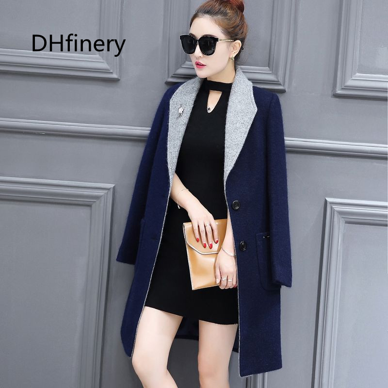 Winter jacket women Elegant Long Sleeved Slim Warm Woolen Coat femininos blue and gray casacos plus