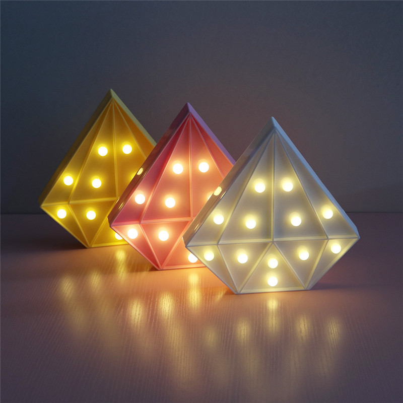 DELICORE Colorful Diamond Shaped LED Night Light 4 Colors Children Cute Marquee Sign Night Lamp Bedroom Decoration Light S136 remote control colorful cartoon led decoration night light