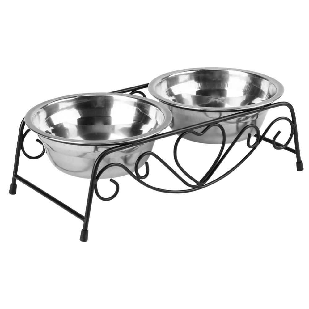 Double Pet Supplies Dog Bowl Stainless Steel Plastic Cat Food Feeding Feeder Food and Water Dish Bowl