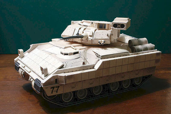 min order 10 mix American M2A2 Bradley infantry fighting vehicles paper model 1 43 vehicles handmade