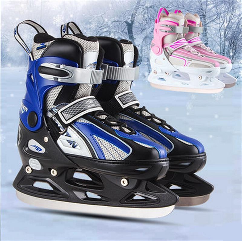 Prix pour [Recommander] Inline Chaussures De Patins À Glace pour le Patinage De Glace, 4 Taille Réglable, pour Adulte Enfant Enfants, bleu Rose, hiver ciem action