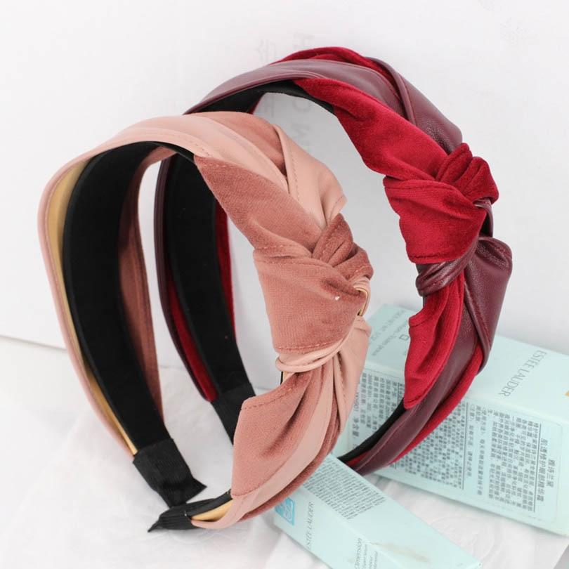 2018 New Korean Leather Velvet Headband Women Twist Cute Hairband Bow Knot Tie Headwrap Vintage Hair Hoops Gift   Headwear