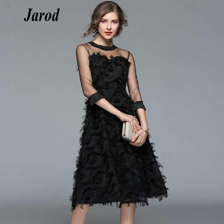 937f26927b Luxury Women Evening Party Dresses New Arrival 2019 Spring Fashion Tassel  O-neck Elegant Black