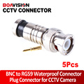 5Pcs/lot BNC Connector BNC To RG59 Male Comprassion Coax Connector