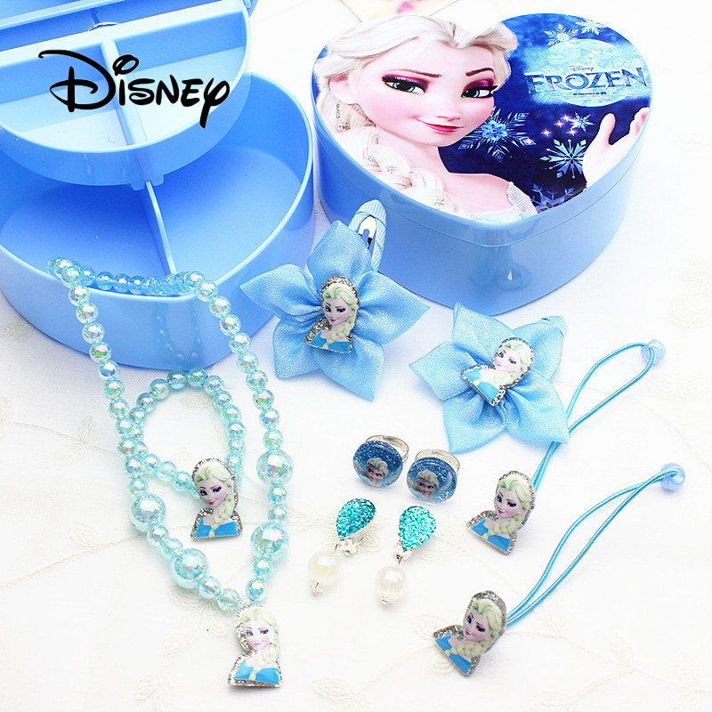 Disney Frozen Girl Pretending Play Hair Accessories Headdress Girl Necklace Earrings Gift Box To Give Girls The Best Gift