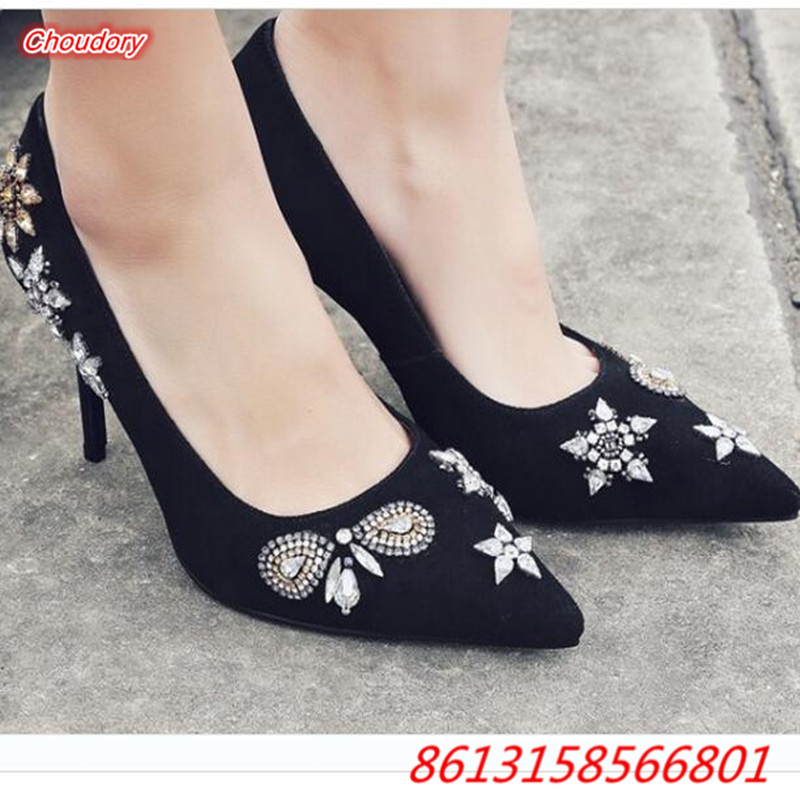 Rhinestones Handmade Fine With Suede font b Women b font Pumps Pointed Toe High heeled Bridesmaid