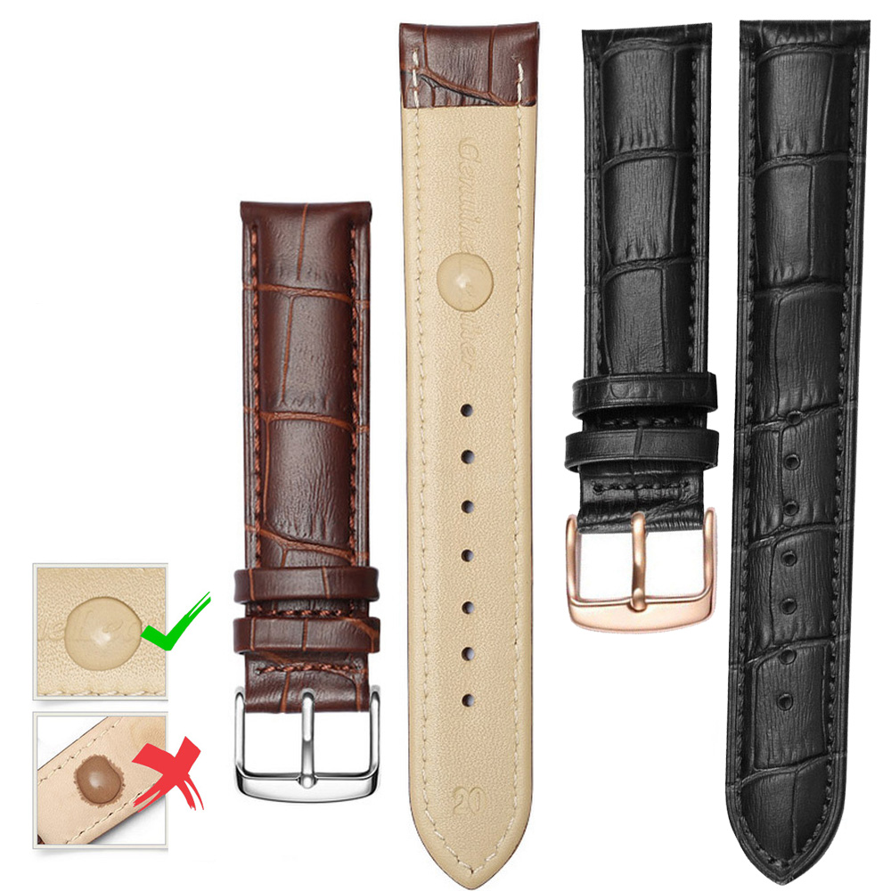 Watchbands Genuine Leather WatchBand Stainless Steel Buckle Clasp Watch Band Leather Strap 12mm 14mm 16mm 18mm 20mm 22mm
