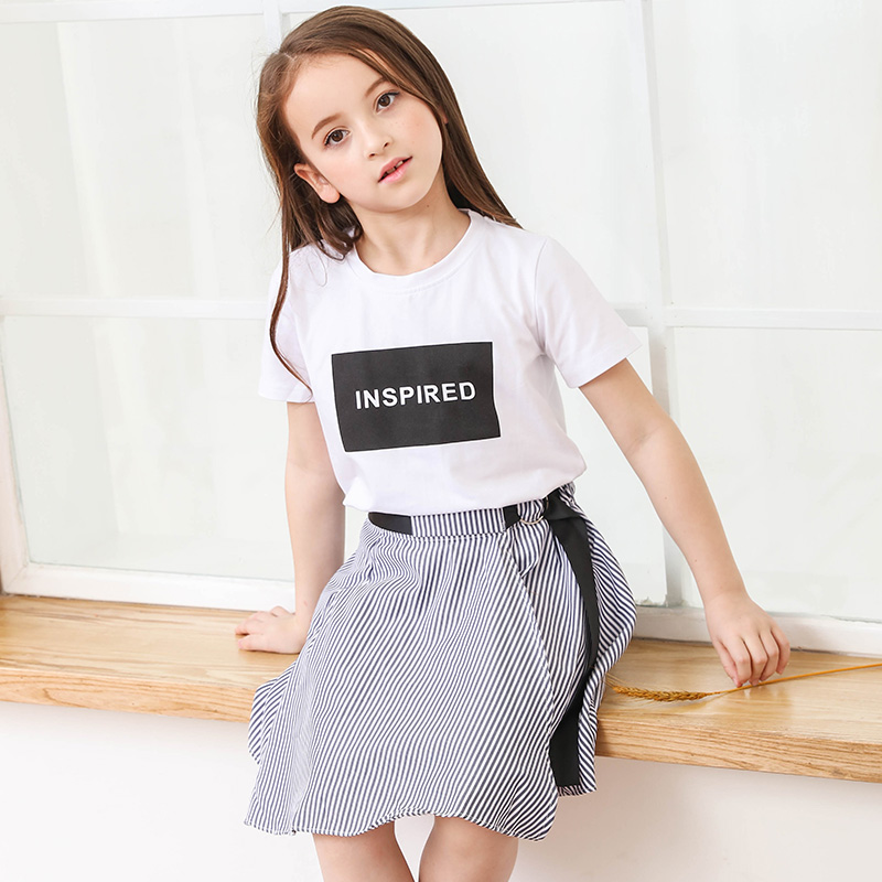2018 New Kids Girls Summer Skirt Suit White T Shirt +Blue Stripe Skirts Two-piece Suits Girl Clothing Set Age 8 10 12 13 14 15