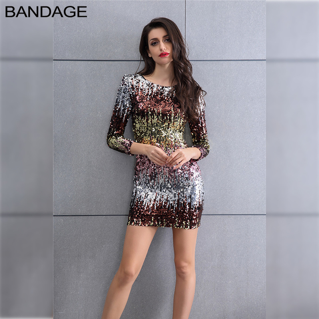 f591ca4bcad Colorful Sequin Party Club Dress 2019 Women Sexy Bodycon Mini Summer Cami Dresses  Fashion Nova Long Sleeve O Neck Hot Dresses