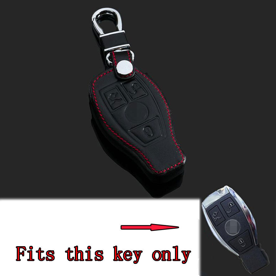 Wholesale 3 Buttons Leather Smart Remote Key Fob Holder Car Cover Case For Benz C E S CL Class C180 C260 With Keychain 10Pcs