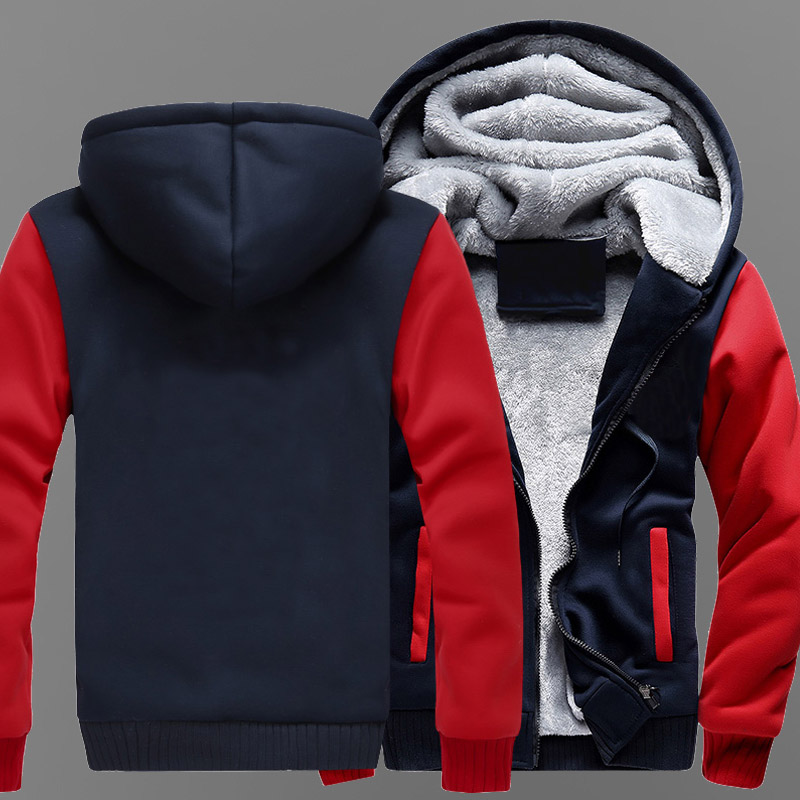 [STOCK] Pure Color Jackets Coats Long Winter Zipper Coat Hooded Hoodie M-5XL For Halloween Free Shipping New