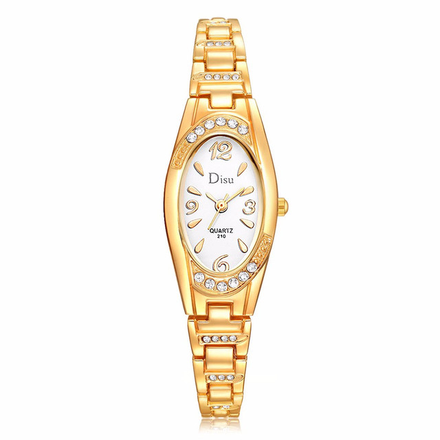 top brand Watches elegant gold Women Elegant Rhinestone Bracelet Watch Fashion Q