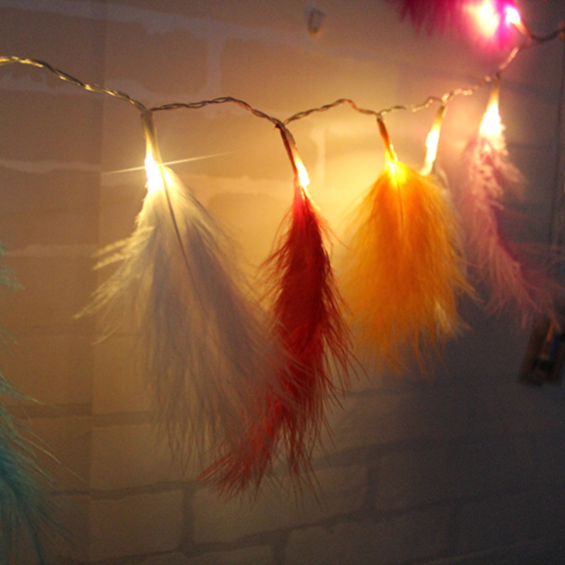 Feather Led String Fairy Light String Xmas Party Home Wedding Garden Garland Christmas Decorations @