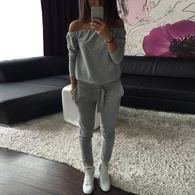 d40e3e00d1f3 Jumpsuit Sexy Solid Gray Black Word Shoulder Jogger Casual Tracksuit Women  Sportswear Tops Pants Sweatshirt