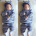 Newborn Baby Girl Boy Clothes Striped 3D Ear Hoodie Warm Cute Tops Pants Trousers Outfits Baby Boys Girls Clothing