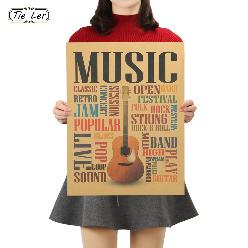 TIE LER Music Guitar B Models Poster Home Decor Modern Rock Wall Sticker For Bedroom Wall Poster 47X36cm