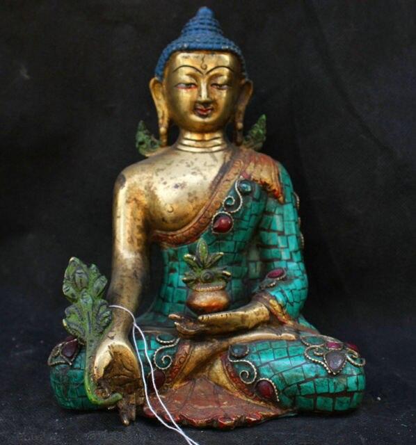 Chinese Folk Fengshui Old Antique Copper Turquoise Gild Statue Medicine BuddhaChinese Folk Fengshui Old Antique Copper Turquoise Gild Statue Medicine Buddha