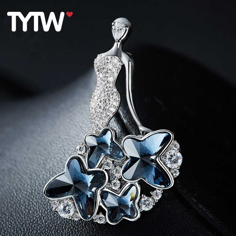 TYTW Cristalli da Austriaco rhodium blu Elegante farfalla donne spilla gioielli donna signora vestito dalla festa nuziale spille