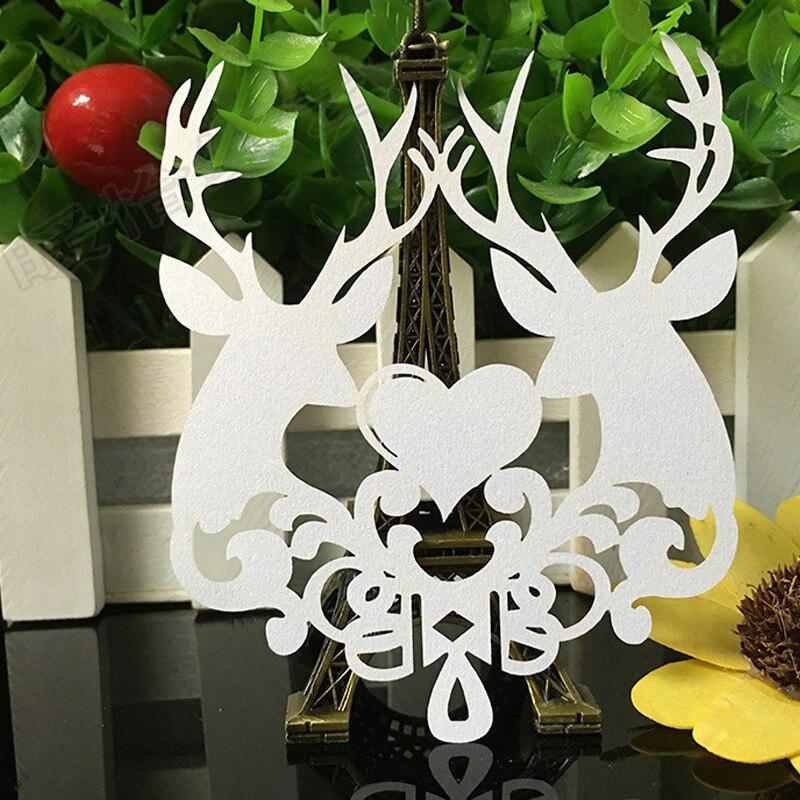 10 Color 50pcs Laser Cut Christmas Deer Paper Place Card  Escort Card  Cup Card Wine Glass Card For Wedding Xmas Decor Favor