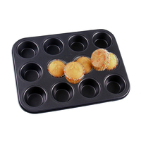 Round Non Stick Carbon Steel Bakeware 12 Cups Pudding Cupcake Muffin Mold Pan Cake Cookie Baking