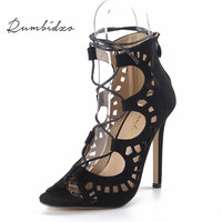 Rumbidzo Phụ Nữ Bơm 2018 Phụ Nữ Thời Trang Giày Sandals Lace up Cao gót Cắt Outs Mùa Hè Mở Ngón Chân Sapato Femininos Cộng Với kích thước 43