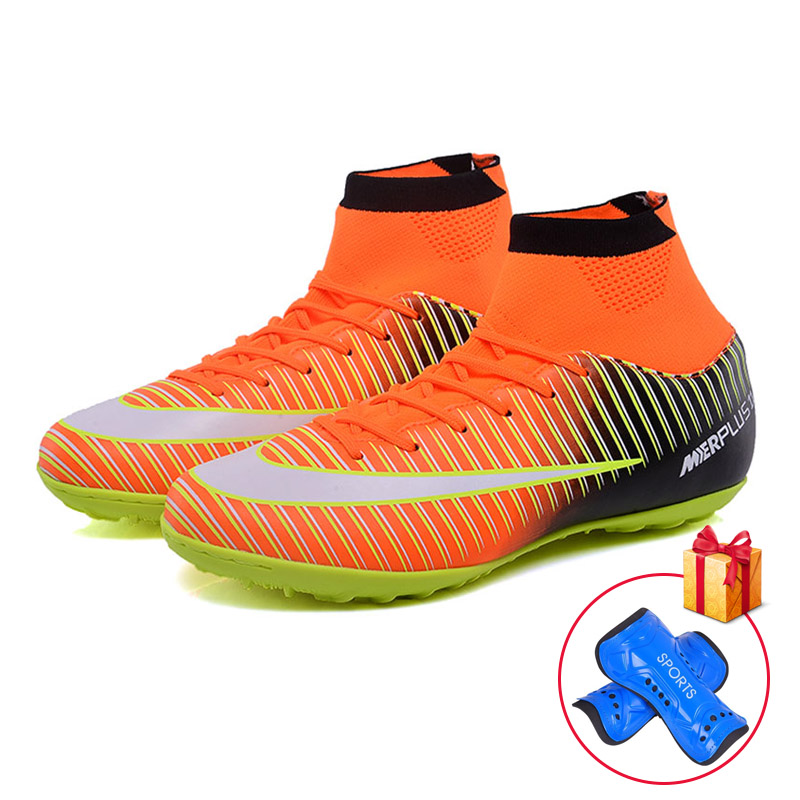 Men Football Boots TF Futsal Shoes Turf Soccer Shoes Superfly High Ankle Sock Cleats Outdoor Professional Sport Trainer Sneakers adult futsal soccer shoes cleats indoor turf soccer training sneakers high ankle football boot superfly original sport shoes men