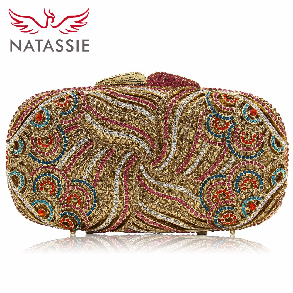 NATASSIE Women Evening Clutch Bags Ladies Gold Crystal Clutches Female Party Bag natassie women evening bags ladies crystal wedding clutch bag female party clutches purses