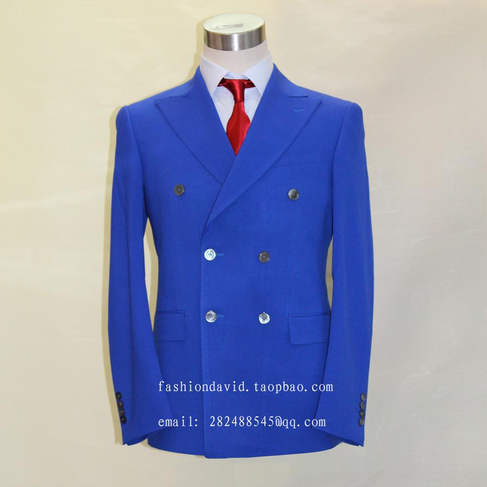 royal blue double breast button 6,big peak lapel, mans youngger business suit ,custom ta ...
