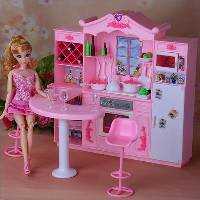 for barbie dining Accessories Kit Lights Kitchen Cabinets Dining Room Furniture Girl Toys barbie accessories and furniture