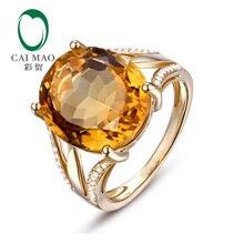 Caimao Jewelry 9.43ct Natural Citrine & 0.17ct Diamonds 18k Yellow Gold Ring