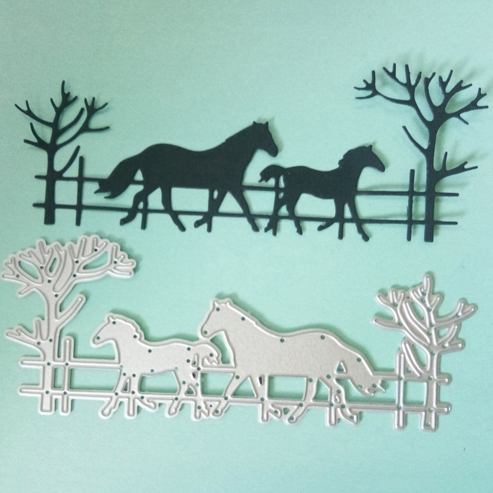 Running Horse Dad & Baby Border Scrapbooking Metal Cutting Dies For DIY Photo Album Decorative Embossing Paper Card Making Craft image