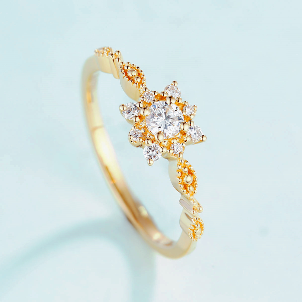 LOREDANA  Ladies fashion hot selling star anise snowflake modeling inlaid AAA zircon ring for women.Suitable for party weddings.(China)