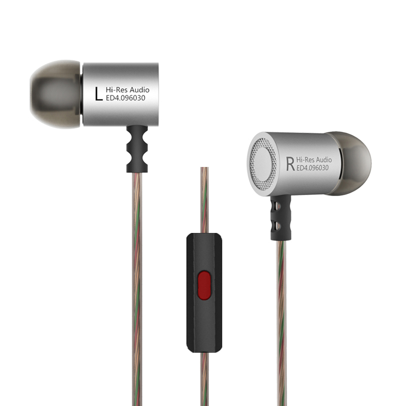 2018 Earphone with Microphone Noise Cancelling KZ ED4 Headset In-ear Metal Stereo Music Basic Headphone for Mobile Phone MP3